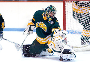 Goaltender Paul Karpowich (Clarkson - 33) makes a save during the first period of Clarkson's 5-3 victory over Princeton. (Shelley M. Szwast)