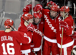 Wisconsin celebrates Jake Gardiner's goal during the first period. No. 16 UNO beat No. 7 Wisconsin 4-3 Saturday night at Qwest Center Omaha. (Photo by Michelle Bishop) (Michelle Bishop)