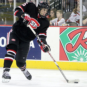 St. Cloud State's Oliver Lauridsen fires a shot during the third period. UNO beat St. Cloud State 3-0 Friday night at Qwest Center Omaha.  (Photo by Michelle Bishop) (Michelle Bishop)
