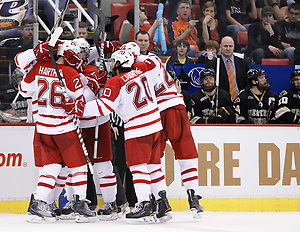 Miami players celebrate a goal in the third period during the CCHA Championship game at Joe Louis Arena in Detroit, Michigan on Saturday, March 19, 2011. (Rena Laverty)