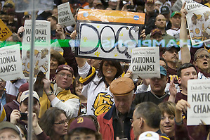 10 Apr 2011:  The University of Minnesota-Duluth plays against the University of Michigan in the 2011 Men's Frozen Four Championship Game at the Xcel Energy Center in St. Paul, MN. (Jim Rosvold)