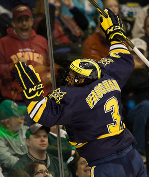 The University of Michigan Wolverines defeated the University of North Dakota 2-0 (EN) in the second semi-final of the 2011 Frozen Four at Xcel Energy Center in St. Paul, Minnesota. (Melissa Wade)