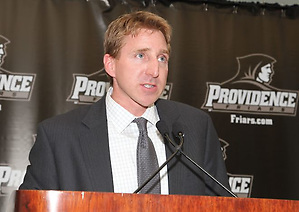Nate Leaman speaks to the media at a news conference announcing his hiring at Providence. (Providence Athletics)