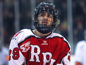 Nick Bailen (RPI - 29) looks on during a stop in play. The Rennselaer Engineers visited Princeton's Hobey Baker Rink, defeating the Princeton Tigers 5-2. (Shelley M. Szwast)