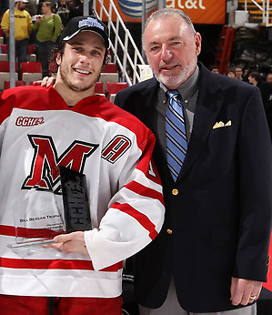 Former CCHA commissioner Bill Beagan with Miami's Andy Miele. (Dave Reginek)