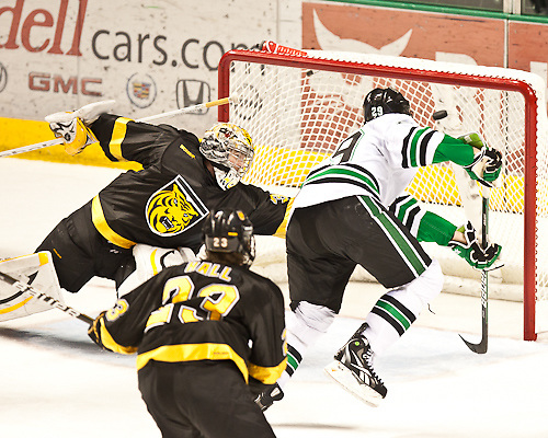 25 Nov 11:  BrockNelson(North Dakota-29) Scores the game winner in the third period.The University of North Dakota Fighting Sioux host the Colorado College Tigers in a WCHA matchup at Ralph Engelstad Arena in Grand Forks, ND. Subway Holiday Classic. Final Score:North Dakota 7- Colorado College 6. (Brad Olson)