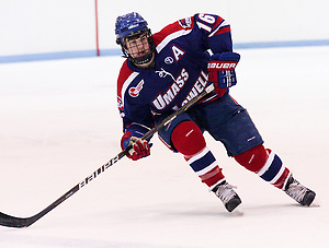 Riley Wetmore (U Mass Lowell - 16), assisted on the first goal of the game scored by David Vallorani. (Shelley M. Szwast)