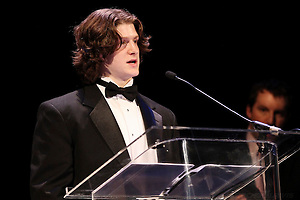 15 Mar 12: Torey Krug (MSU) wins the CCHA Player of the Year and Best Offensive Defenseman awards at the CCHA Awards held at the Fox Theatre in Detroit, MI. (©Rachel Lewis)