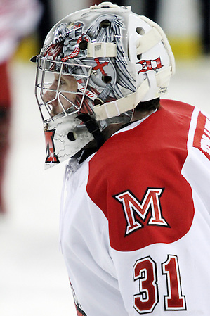 10 Mar 12: Connor Knapp (Miami - 31) Miami University sweeps Michigan State University at Steve Cady Arena in Oxford, OH in Round 2 of the CCHA Playoffs to advance to the semi-finals in Detroit. (©Rachel Lewis)