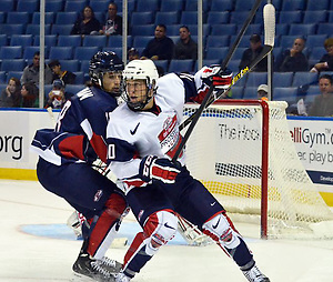Boston University forward Matt Lane (right) skates for Team McClanahan in the inaugural CCM/USA Hockey All-American Prospects Game at the First Niagara Center in Buffalo, N.Y., on Saturday, Sept. 29, 2012. (Dan Hickling)