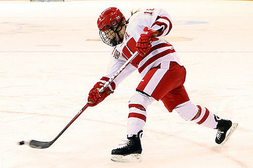 Wisconsin's Brianna Decker fires the puck vs Boston College in the NCAA Semifinal in Duluth. (2012 Dave Harwig)