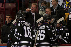 3 Dec 11: Troy Jutting (Minnesota State Head Coach) The University of Minnesota Golden Gophers host the Minnesota State University Mavericks in a WCHA conference match-up at Mariucci Arena in Minneapolis, MN. (Jim Rosvold)
