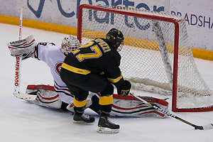 14 Dec 12: William Rapuzzi (Colorado College - 27). The St. Cloud State University Huskies host the Colorado College Tigers in a WCHA matchup at the National Hockey Center in St. Cloud, MN. (Jim Rosvold)