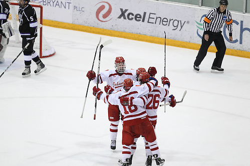 Johnnies celebrate after a goal. Credit: Carina Ezell- College of Saint Benedict. (Tim Brule)