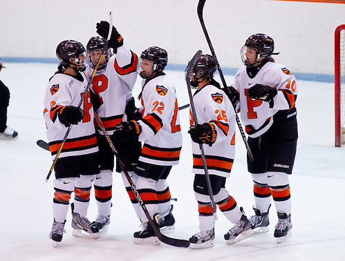 Brianna Leahy (Princeton - 15), Gabie Figueroa (Princeton - 21), Sally Butler (Princeton - 10), and Rose Alleva (Princeton - 25) congratulate Olivia Mucha (Princeton - 22) on her second goal of the game. (Shelley M. Szwast)