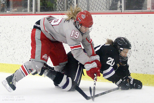 FEB 23 2013: Danielle Gagne (OSU - 19), Emilia Andersson (MSU - 20)  Ohio State beats Minnesota State 4-3 in a shootout at the OSU Ice Rink in Columbus, OH. (USCHO - Rachel Lewis) (©Rachel Lewis)