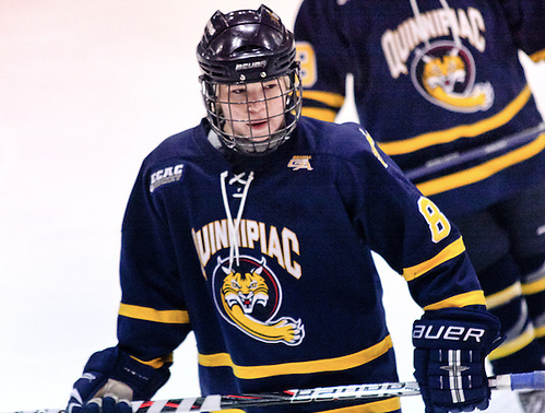 Kelly Babstock (Quinnipiac - 8) looks to the bench prior to a face off. Quinnipiac defeated Princeton 1-0 at Hobey Baker Rink in Princeton, N.J. (Shelley M. Szwast)
