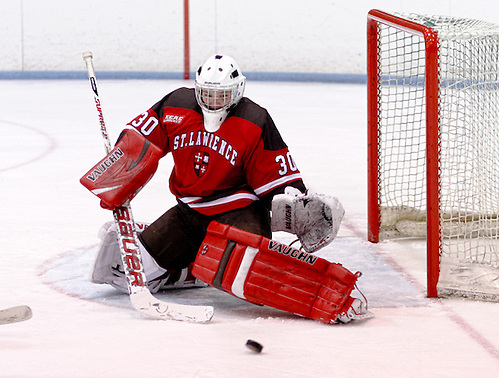Goaltender Carmen MacDonald (St. Lawrence - 30) made 34 saves as St. Lawrence went on to defeat Princeton 6-2. (Shelley M. Szwast)