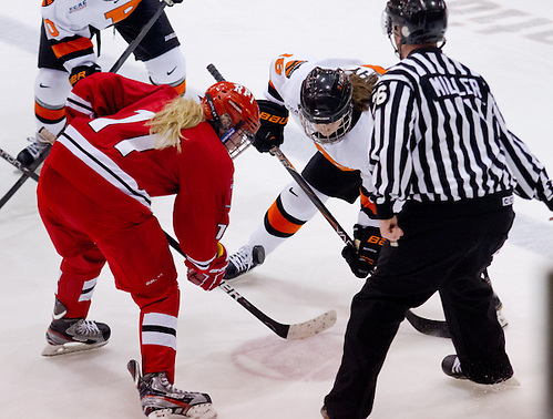 Alexa Gruschow (Rensselaer - 11) and Brianna Leahy (Princeton - 15) face off. (Shelley M. Szwast)