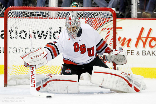 25 OCT 2013: Matt Tomkins (OSU - 31)  The Ohio State Buckeyes beat the Robert Morris University Colonials 5-3 in a non-conference matchup at Value City Arena in Columbus, OH. (©Rachel Lewis)