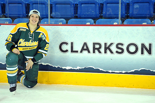 2014 Clarkson - Minnesota- #26 Jamie Lee Rattray is proud of her school; Copyright 2014 Angelo Lisuzzo (Angelo Lisuzzo)