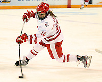 Wisconsin's Brittany Ammerman fires a shot late in the third period of the National Championship game Sunday in Duluth. (2012 Dave Harwig)