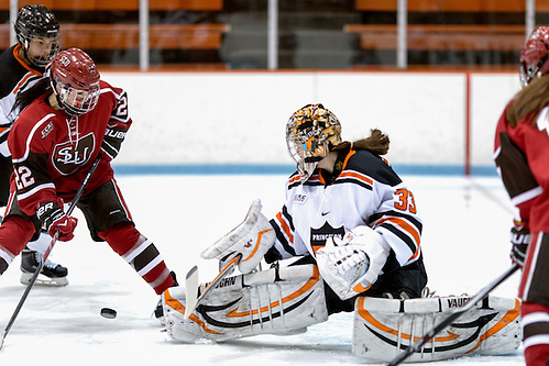 Kimberley Newell (Princeton - 33) makes a save on Kailee Heidersbach (St. Lawrence - 22). ((c) Shelley M. Szwast 2014)