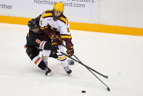 30 Nov 13: Cassidy Tucker (Princeton - 5), Rachel Ramsey (Minnesota - 5). The University of Minnesota Golden Gophers host the Princeton Tigers in a matchup at Ridder Arena in Minneapolis, MN. (Jim Rosvold)