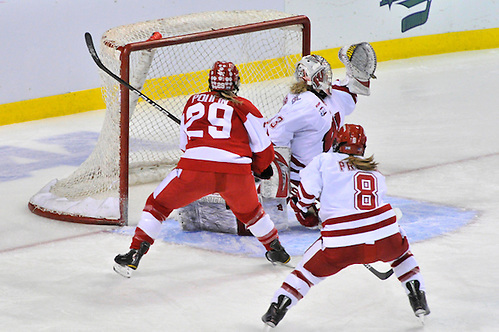 2011 Womens Frozen Four; #29 Marie-Philip Poulin lifting a perfectly placed shot into the far upper corner for Boston U. - Copyright 2011 Angelo Lisuzzo (Angelo Lisuzzo)