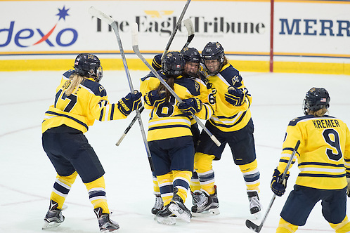 (L-R) Jessica Bonfe, Paige Voight, Marie Delarbre, and Dominique Kremer celebrate a goal against St. Cloud State on Oct. 2, 2015 (Mike Gridley/Photo: Mike Gridley)