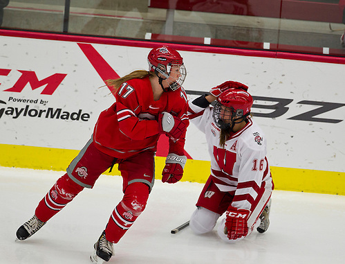 12 Jan 13: Julia McKinnon (Ohio State - 17) Saige Pacholok (Wisconsin - 16) The University of Wisconsin Badgers host the Ohio State Buckeyes at La Bahn Arena in Madison, WI. (Dan Sanger)