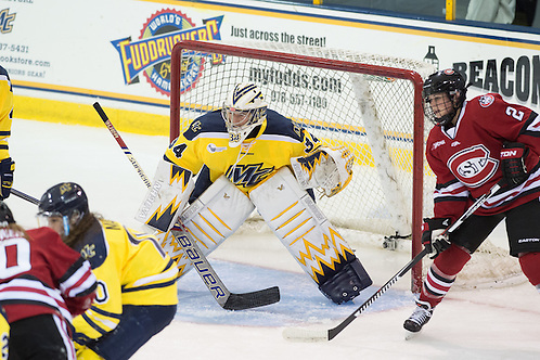 Samantha Ridgewell in net for Merrimack against St. Cloud State on Oct. 2, 2015 (Mike Gridley/Photo: Mike Gridley)