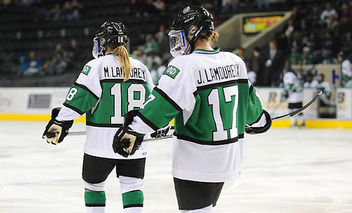 Players on the 2012-2013 All-USCHO D-I Women's teams (Monique and Jocelyne Lamoureux). (Matt Clemetson/North Dakota Athletics)