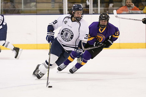 Geneseo's Arthur Gordon scored two first-period goals that held up in the Knights' 2-1 win over Williams in NCAA quarterfinal action on Saturday night. (Keith Walters)