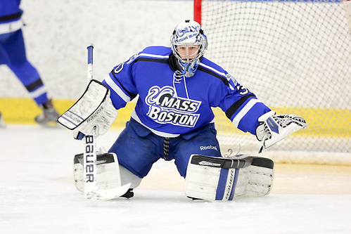 Senior Billy Faust made 42 saves, including 15 in the third period, to back Massachusetts-Boston's 2-0 upset win over Hobart on Saturday night. (Paul Brandon Photography)