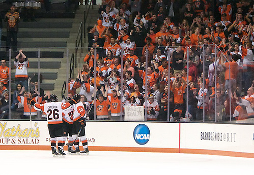 RIT players and fans celebrate a first period goal by Brady Norrish (10 - RIT) (Omar Phillips)