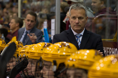 16 Oct 15: Don Lucia (Minnesota - Head Coach). The University of Minnesota Duluth Bulldogs play against the University of Minnesota Golden Gophers in a non-conference matchup at Mariucci Arena in Minneapolis, MN. (Jim Rosvold)