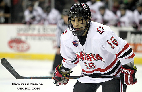Omaha's Austin Ortega. St. Cloud State beat Omaha 3-1, sweeping their best-of-three NCHC playoff series, Saturday night at the CenturyLink Center in Omaha. (Photo by Michelle Bishop) (Michelle Bishop)