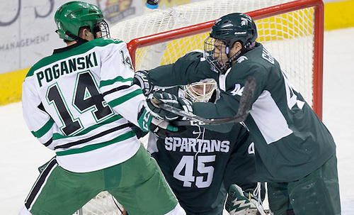 Austin Poganski (North Dakota-14) Butrus Ghafari (Michigan State-44)16 November 26 Michigan State University and University of North Dakota meet in a non conference contest at Ralph Engelstad Arena (Bradley K. Olson)