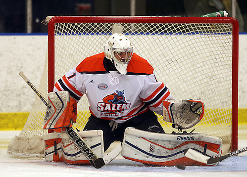 Salem State goaltender Marcus Zelzer is focused on leading the Vikings to back-to-back conference titles and success in the NCAA tournament next spring (Photo by David Le) (David Le)