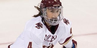 Megan Keller (BC - 4) - The Boston College Eagles defeated the visiting Syracuse University Orange 10-2 on Saturday, October 4, 2014, at Kelley Rink in Conte Forum in Chestnut Hill, Massachusetts. (Melissa Wade)