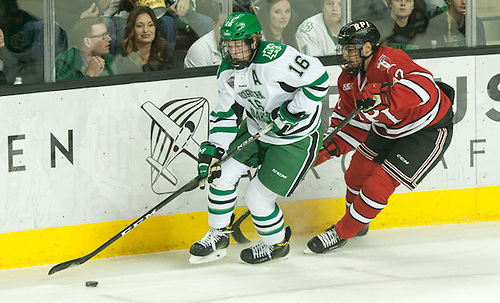 Brock Boeser (North Dakota-16) Viktor Liljegren (RPI-12)16 October 15 RPI and University of North Dakota meet in a non conference contest at the Ralph Engelstad Arena in Grand Forks, ND (Bradley K. Olson)