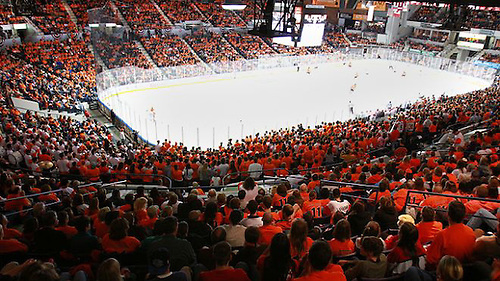 RIT's Men Hockey plays their homecoming game against St. Lawrence at Blue Cross Arena in downtown Rochester, New York on Saturday, October 15th, 2011 (Dylan Heuer)