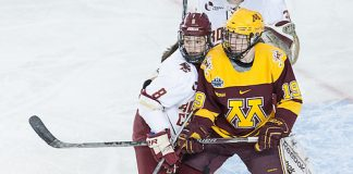 Dana Trivigno (BC - 8), Kelly Pannek (Minnesota - 19) - The University of Minnesota Golden Gophers defeated the Boston College Eagles 3-1 to win the 2016 NCAA national championship on Sunday, March 20, 2016, at the Whittemore Center Arena in Durham, New Hampshire. (Melissa Wade)
