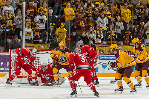 03 Dec 16:  The University of Minnesota Golden Gophers host the Ohio State University Buckeyes in a B1G matchup at Mariucci Arena in Minneapolis, MN (Jim Rosvold/University of Minnesota)