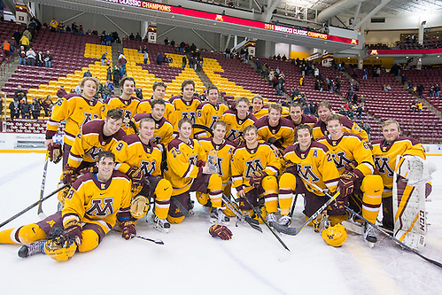 31 Dec 16:  2016 Mariucci Classic Champions.  The University of Minnesota Golden Gophers host the University of Massachusetts Minutemen in the championship game of the 2016 Mariucci Classic at Mariucci Arena in Minneapolis, MN. (Jim Rosvold)