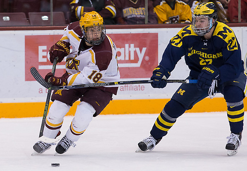 13 Jan 16:  The University of Minnesota Golden Gophers host the University of Michigan Wolverines in a B1G matchup at Mariucci Arena in Minneapolis, MN. (Jim Rosvold)