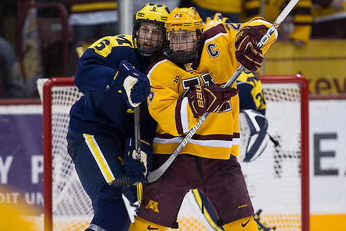 14 Jan 16:  Griffin Luce (Michigan -5), Justin Kloos (Minnesota - 25).  The University of Minnesota Golden Gophers host the University of Michigan Wolverines in a B1G matchup at Mariucci Arena in Minneapolis, MN. (Jim Rosvold)
