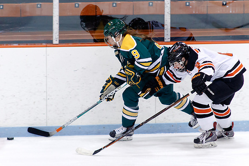 Genevieve Bannon (Clarkson - 9) plays the puck as Molly Strabley (Princeton - 2) gives chase. ((c) Shelley M. Szwast 2016)