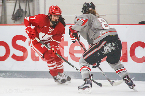Sam Cogan (Wisc - 7), Dani Sadek (OSU - 8)  The #1 Wisconsin Badgers complete the sweep over the Ohio State Buckeyes with a 5-0 win Saturday, December 10, 2016 at the OSU Ice Rink in Columbus, OH. (Rachel Lewis)